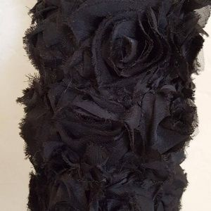 Sebrina Love / Sebrina Love Bridals Accessories - Goth Black Rosette Satin Opera Wedding Gloves